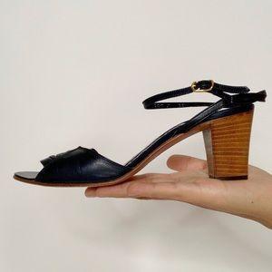 vintage dark navy leather sandals